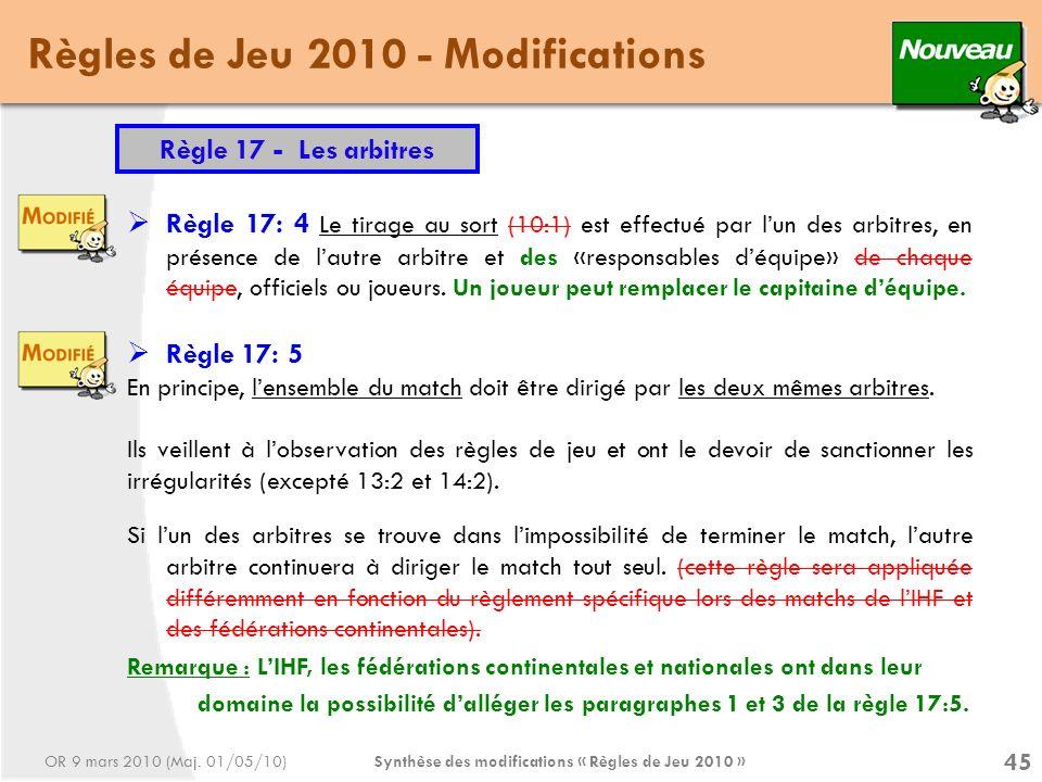 Synthèse des modifications « Règles de Jeu 2010 » 45 Règles de Jeu 2010 - Modifications Règle 17 - Les arbitres Règle 17: 4 Le tirage au sort (10:1) est effectué par lun des arbitres, en présence de lautre arbitre et des «responsables déquipe» de chaque équipe, officiels ou joueurs.