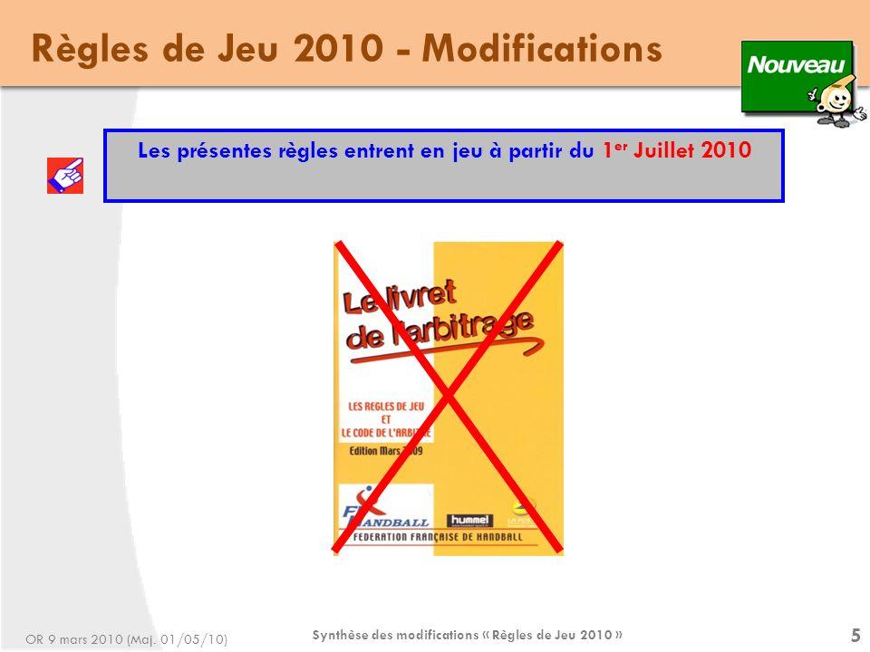 Synthèse des modifications « Règles de Jeu 2010 » 46 Règles de Jeu 2010 - Modifications Règle 17 - Les arbitres (suite) Règle 17: 9 Les deux arbitres sont responsables du contrôle de la durée du temps de jeu.