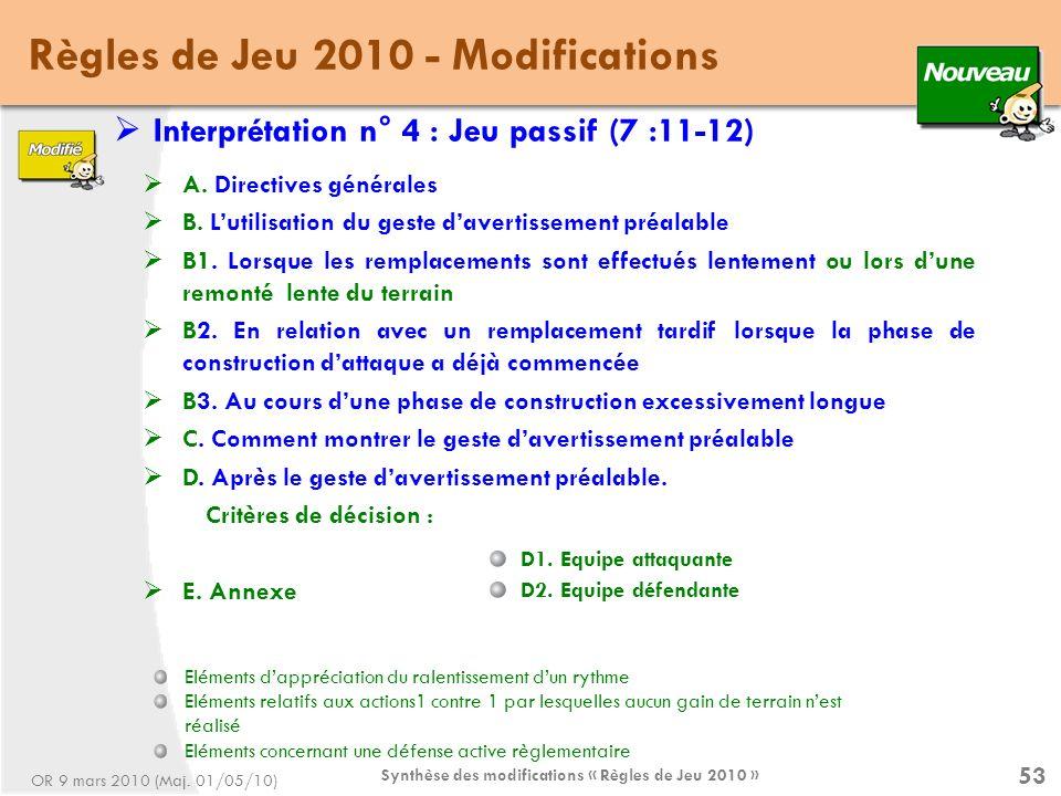 Synthèse des modifications « Règles de Jeu 2010 » 53 Règles de Jeu 2010 - Modifications Interprétation n° 4 : Jeu passif (7 :11-12) A.