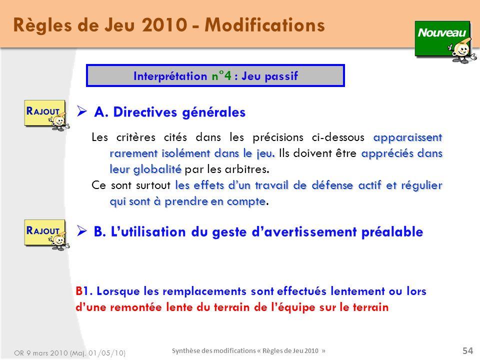 Synthèse des modifications « Règles de Jeu 2010 » 54 apparaissent rarement isolément dans le jeu.appréciés dans leur globalité Les critères cités dans les précisions ci-dessous apparaissent rarement isolément dans le jeu.