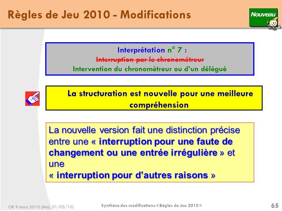 Synthèse des modifications « Règles de Jeu 2010 » 65 Règles de Jeu 2010 - Modifications Interprétation n° 7 : Interruption par le chronométreur Intervention du chronométreur ou dun délégué La structuration est nouvelle pour une meilleure compréhension OR 9 mars 2010 (Maj.