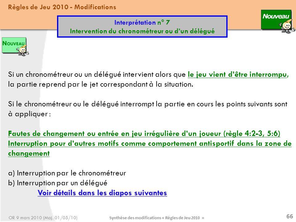 Synthèse des modifications « Règles de Jeu 2010 » 66 Si un chronométreur ou un délégué intervient alors que le jeu vient dêtre interrompu, la partie reprend par le jet correspondant à la situation.