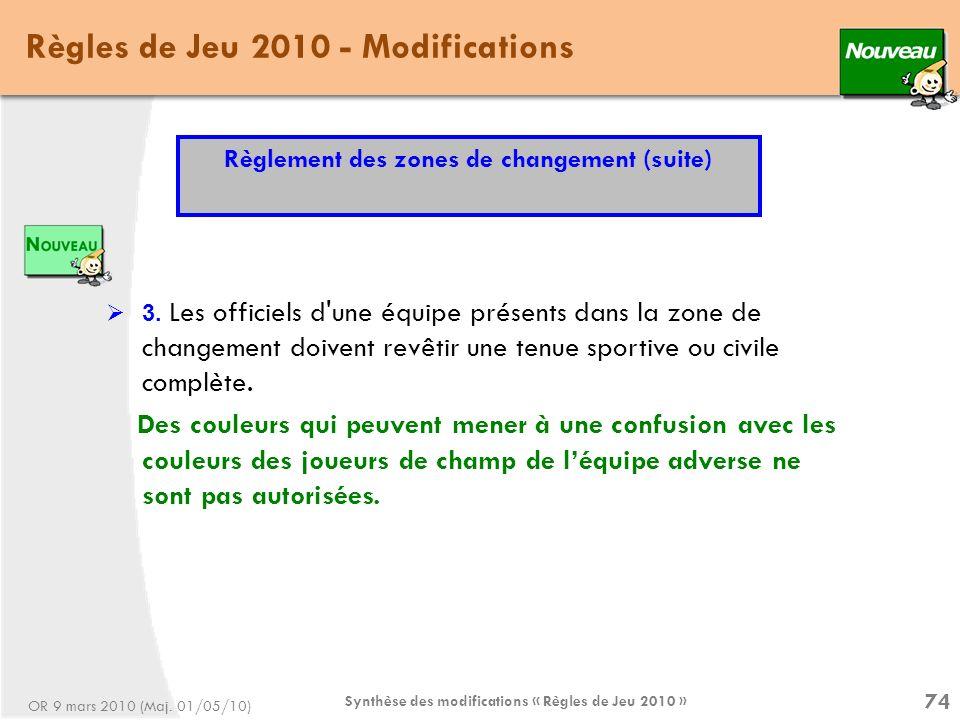 Synthèse des modifications « Règles de Jeu 2010 » 74 Règles de Jeu 2010 - Modifications 3.