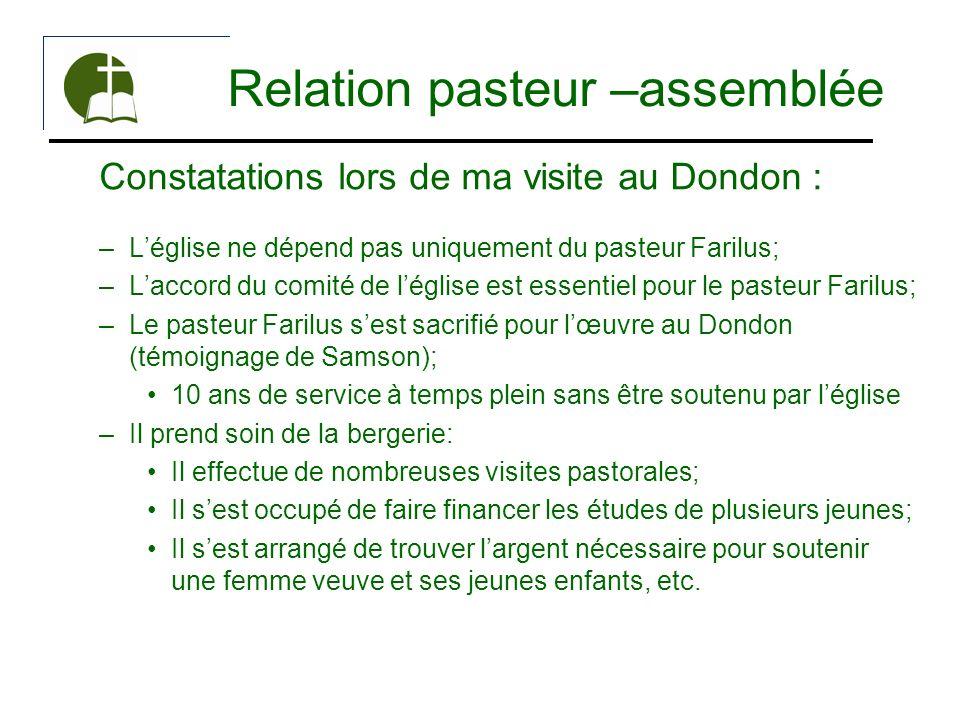 Relation pasteur –assemblée Constatations lors de ma visite au Dondon : –Léglise ne dépend pas uniquement du pasteur Farilus; –Laccord du comité de lé
