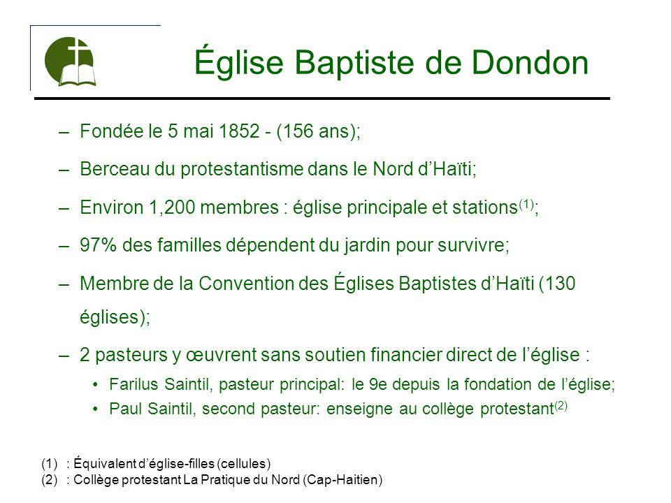 Église Baptiste de Dondon –Fondée le 5 mai 1852 - (156 ans); –Berceau du protestantisme dans le Nord dHaïti; –Environ 1,200 membres : église principal