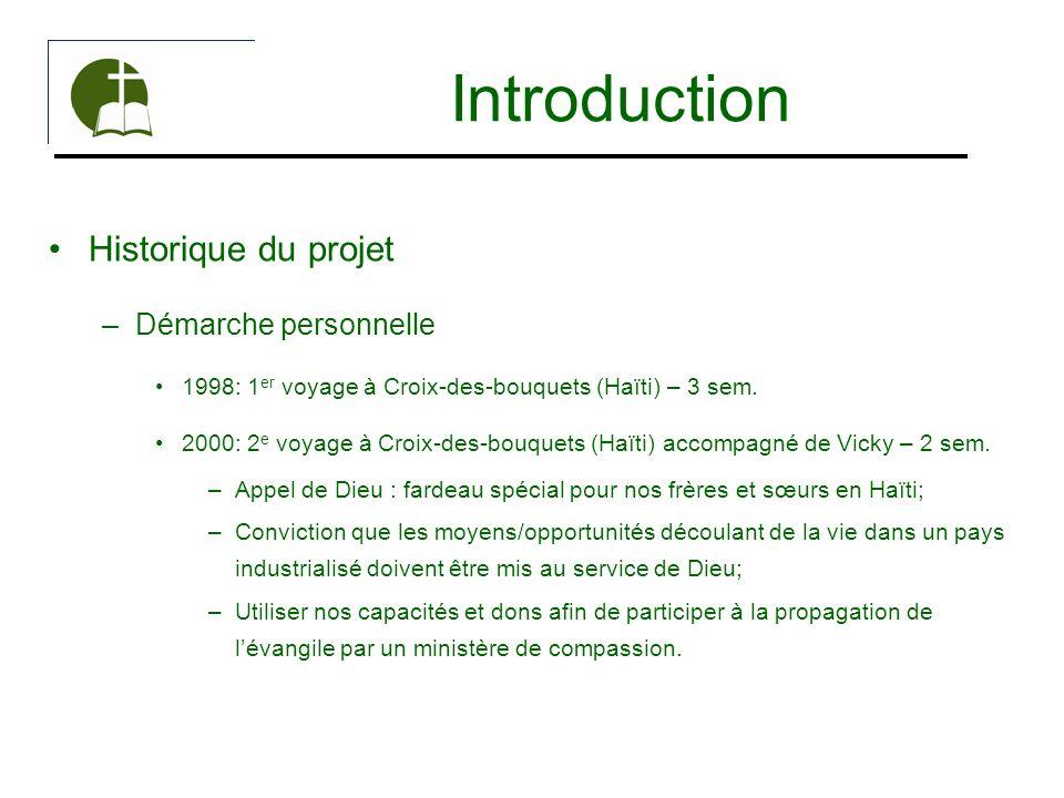 Introduction Historique du projet –Démarche personnelle 1998: 1 er voyage à Croix-des-bouquets (Haïti) – 3 sem. 2000: 2 e voyage à Croix-des-bouquets