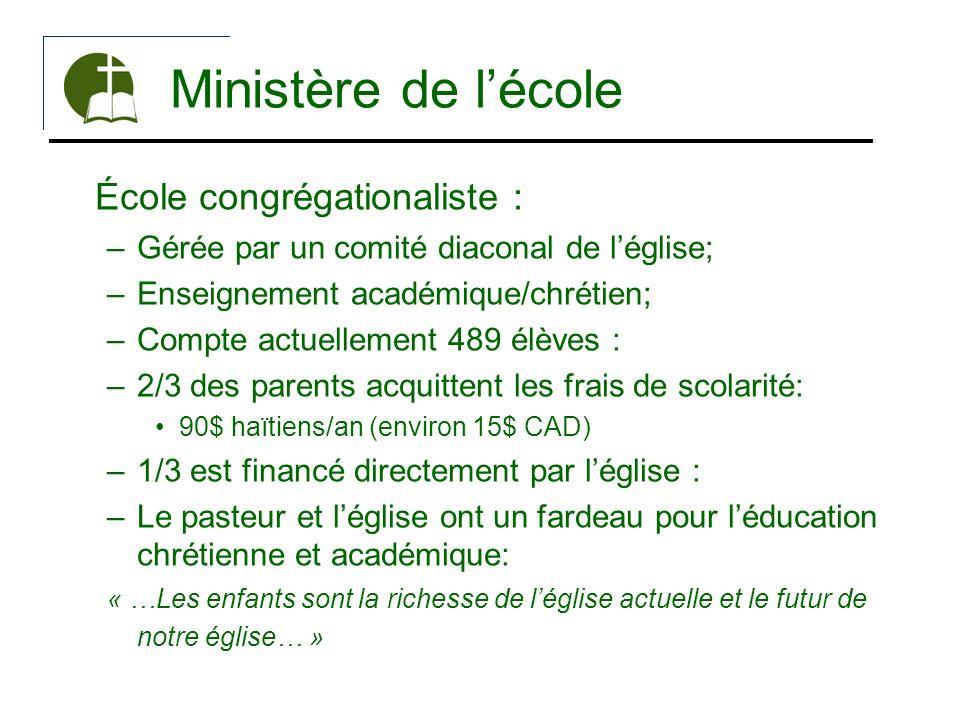 Ministère de lécole École congrégationaliste : –Gérée par un comité diaconal de léglise; –Enseignement académique/chrétien; –Compte actuellement 489 é