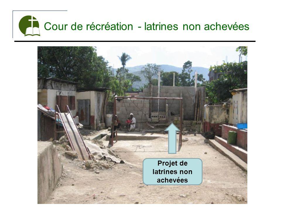 Cour de récréation - latrines non achevées Projet de latrines non achevées