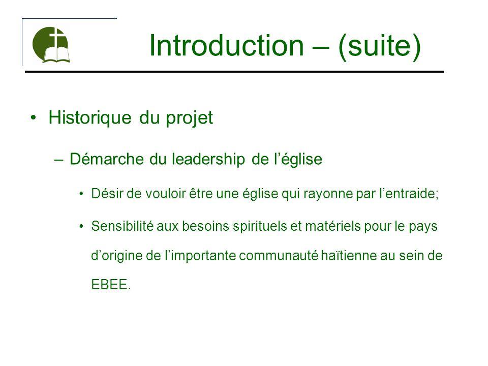 Introduction – (suite) Historique du projet –Démarche du leadership de léglise Désir de vouloir être une église qui rayonne par lentraide; Sensibilité