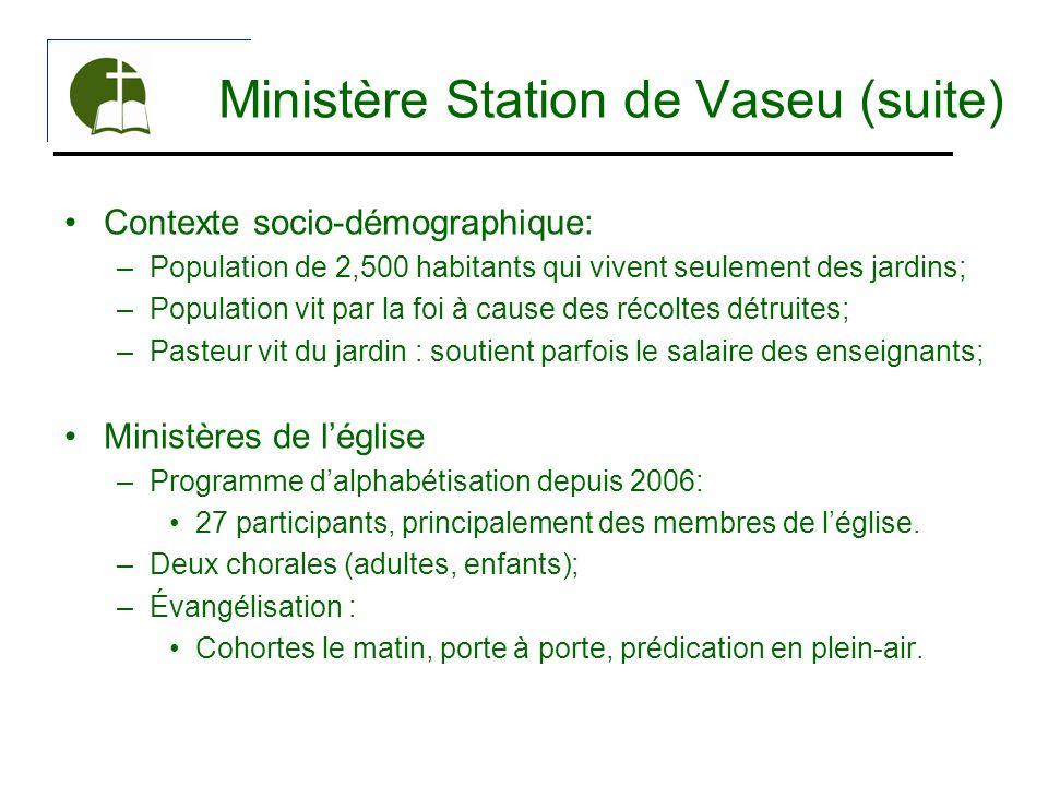 Ministère Station de Vaseu (suite) Contexte socio-démographique: –Population de 2,500 habitants qui vivent seulement des jardins; –Population vit par