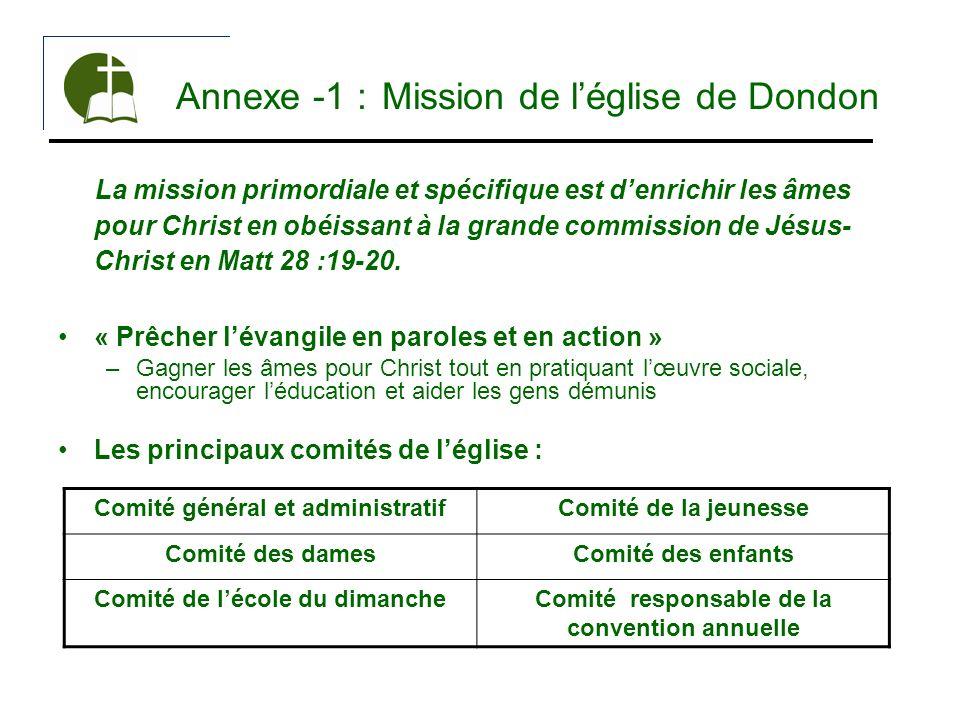 Annexe -1 : Mission de léglise de Dondon La mission primordiale et spécifique est denrichir les âmes pour Christ en obéissant à la grande commission d