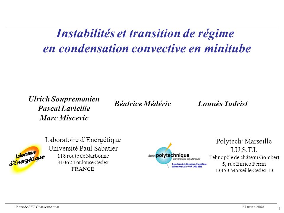 12 Preliminary analysis of the mechanisms 2/3 confinement and/or phase change effects Journée SFT Condensation 23 mars 2006 Highest mass fluxes