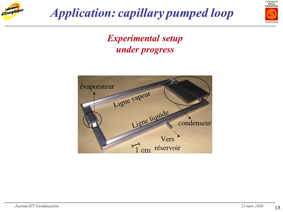 18 Application: capillary pumped loop Experimental setup under progress 1 cm Journée SFT Condensation 23 mars 2006
