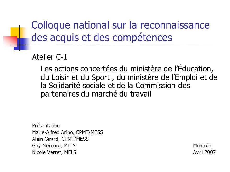 Colloque national sur la reconnaissance des acquis et des compétences Atelier C-1 Les actions concertées du ministère de lÉducation, du Loisir et du S