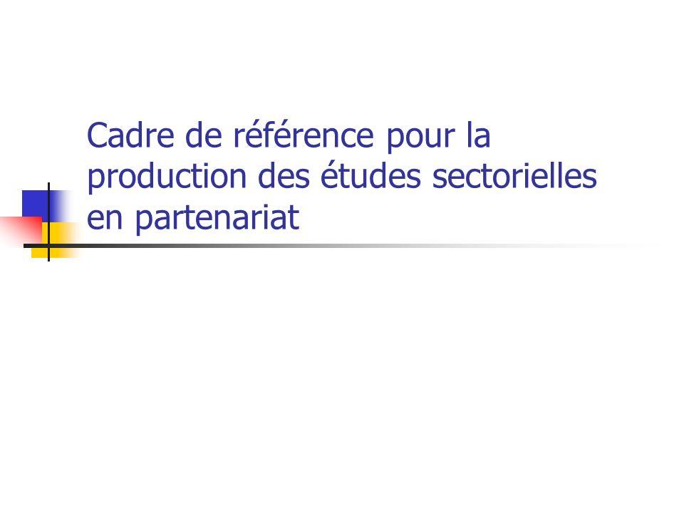 Cadre de référence pour la production des études sectorielles en partenariat