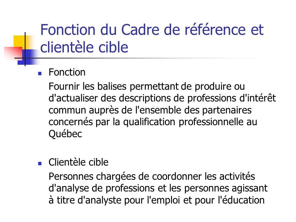 Fonction du Cadre de référence et clientèle cible Fonction Fournir les balises permettant de produire ou d'actualiser des descriptions de professions