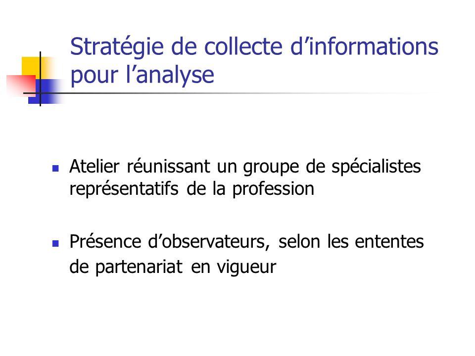 Stratégie de collecte dinformations pour lanalyse Atelier réunissant un groupe de spécialistes représentatifs de la profession Présence dobservateurs,