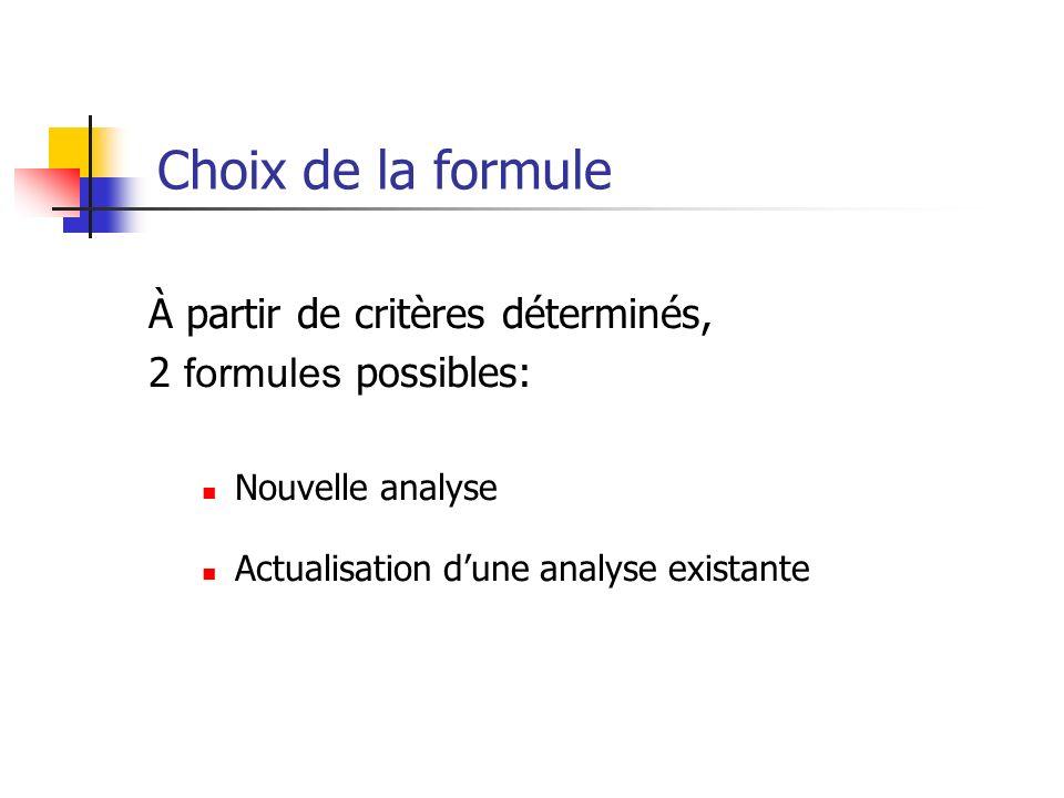 Choix de la formule À partir de critères déterminés, 2 formules possibles: Nouvelle analyse Actualisation dune analyse existante