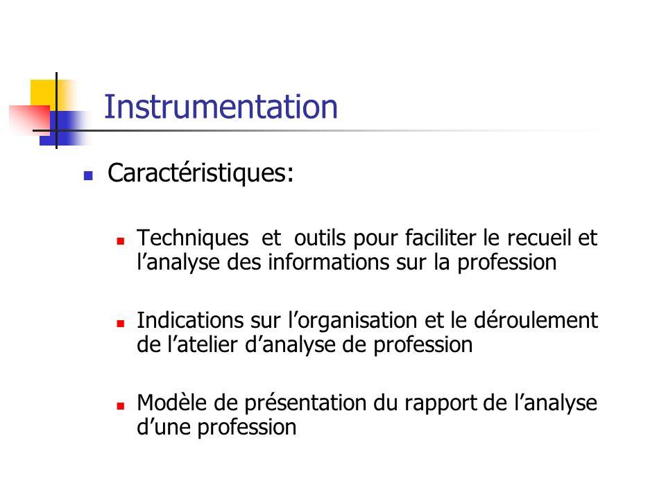 Instrumentation Caractéristiques: Techniques et outils pour faciliter le recueil et lanalyse des informations sur la profession Indications sur lorgan