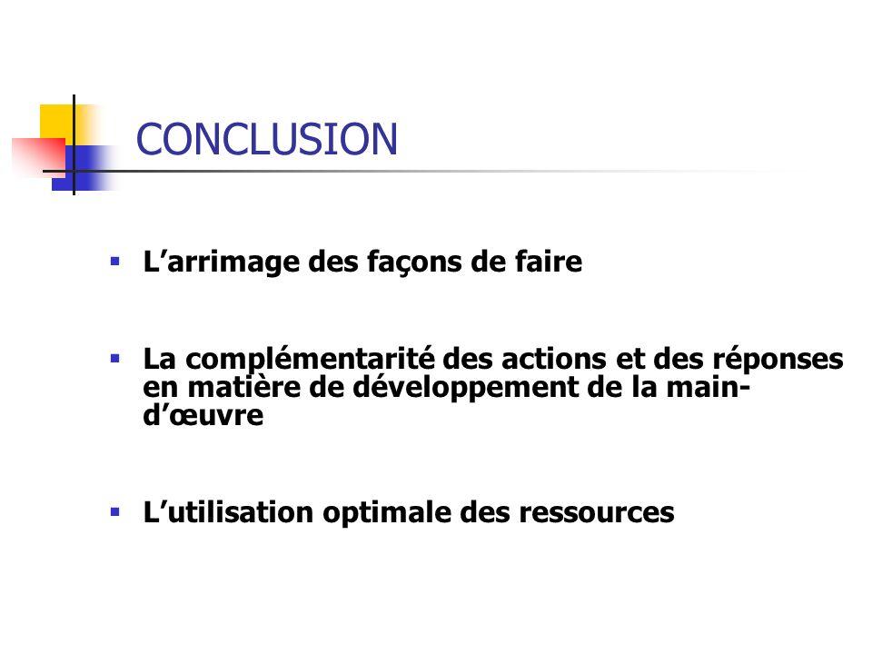 CONCLUSION Larrimage des façons de faire La complémentarité des actions et des réponses en matière de développement de la main- dœuvre Lutilisation op