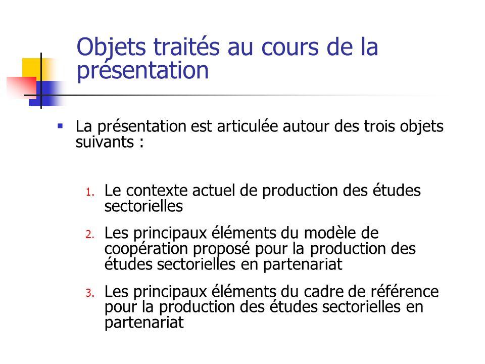 Objets traités au cours de la présentation La présentation est articulée autour des trois objets suivants : 1. Le contexte actuel de production des ét