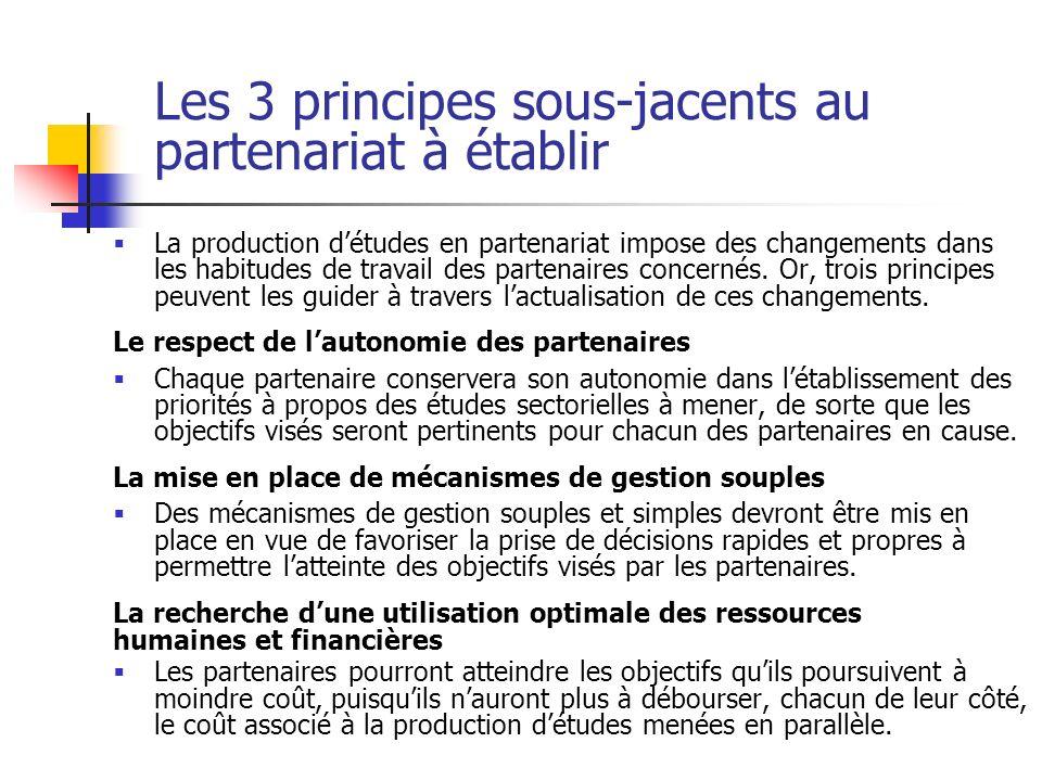 Les 3 principes sous-jacents au partenariat à établir La production détudes en partenariat impose des changements dans les habitudes de travail des pa