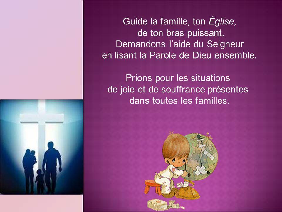 Viens, Seigneur Jésus ! Protège notre maison. Réconforte celui qui doute; soutiens celui qui est seul; console celui qui est faible et qui pleure. Ren