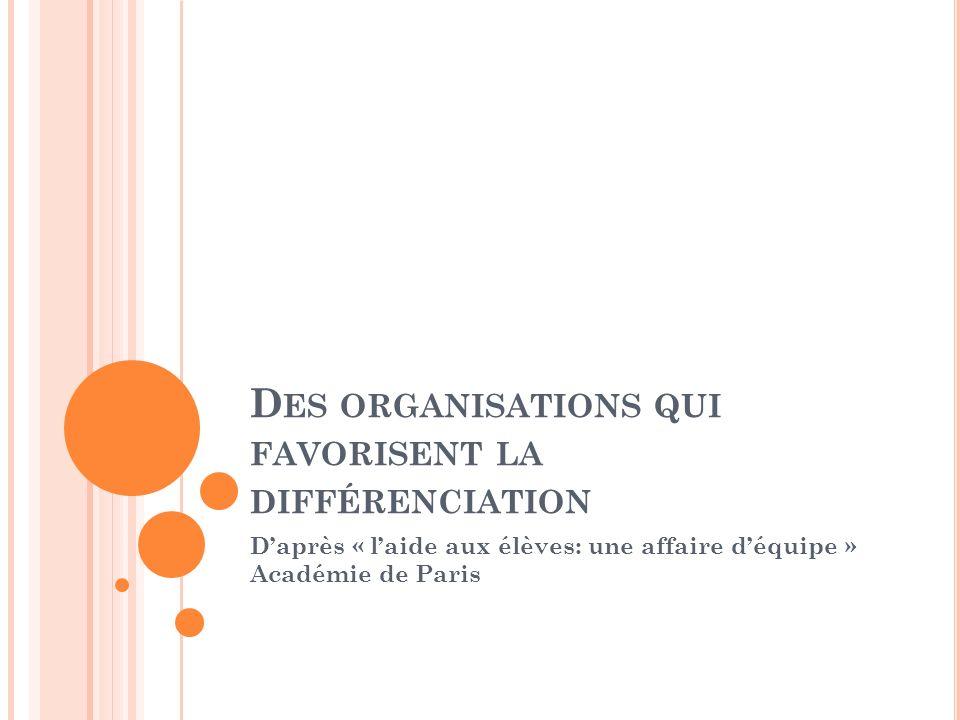 D ES ORGANISATIONS QUI FAVORISENT LA DIFFÉRENCIATION Daprès « laide aux élèves: une affaire déquipe » Académie de Paris