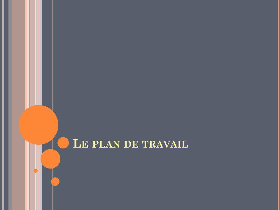 L E PLAN DE TRAVAIL