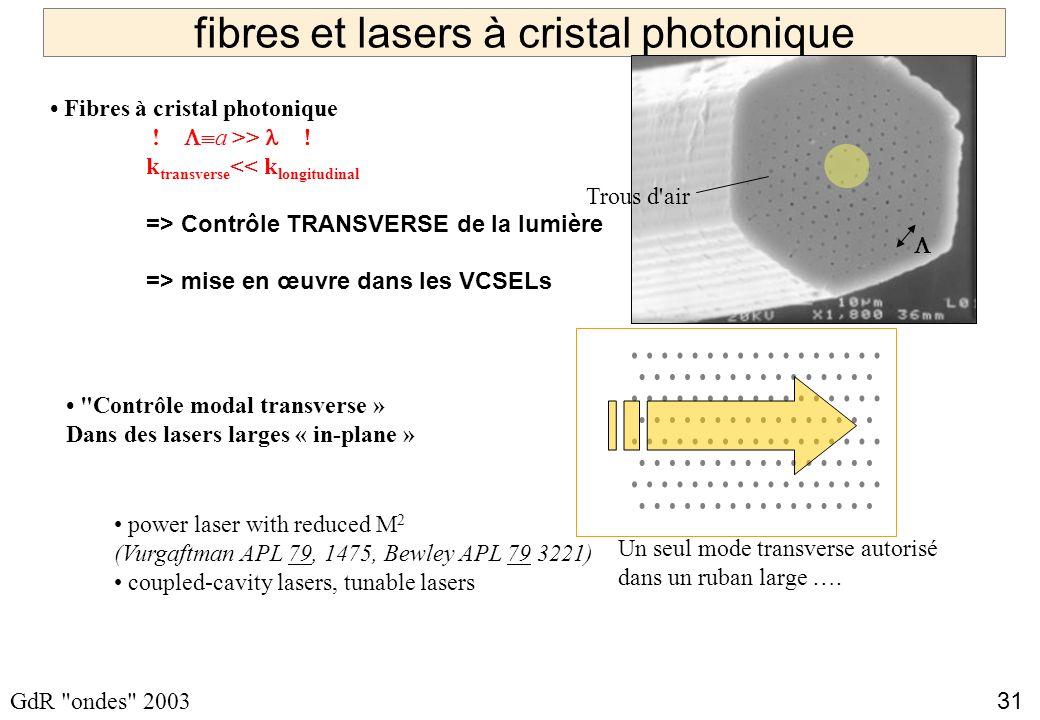 31 GdR ondes 2003 fibres et lasers à cristal photonique Contrôle modal transverse » Dans des lasers larges « in-plane » power laser with reduced M 2 (Vurgaftman APL 79, 1475, Bewley APL 79 3221) coupled-cavity lasers, tunable lasers Un seul mode transverse autorisé dans un ruban large ….