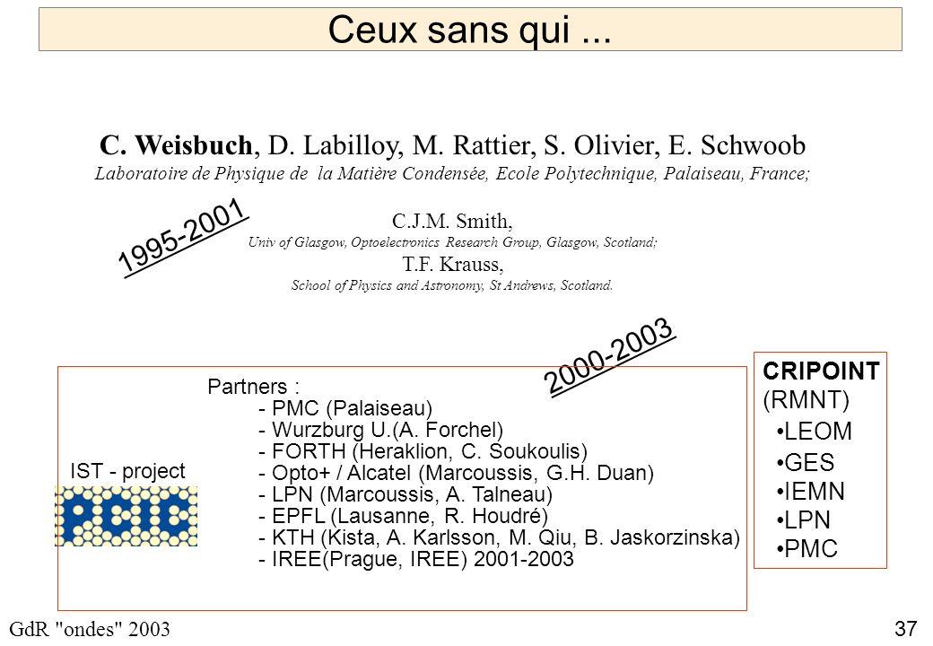 37 GdR ondes 2003 Ceux sans qui...C. Weisbuch, D.