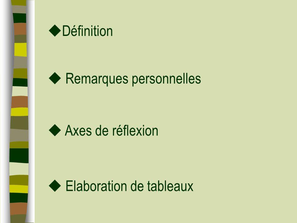 Définition Remarques personnelles Elaboration de tableaux Axes de réflexion