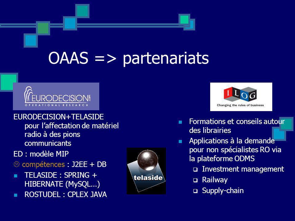 OAAS => partenariats EURODECISION+TELASIDE pour laffectation de matériel radio à des pions communicants ED : modèle MIP compétences : J2EE + DB TELASI