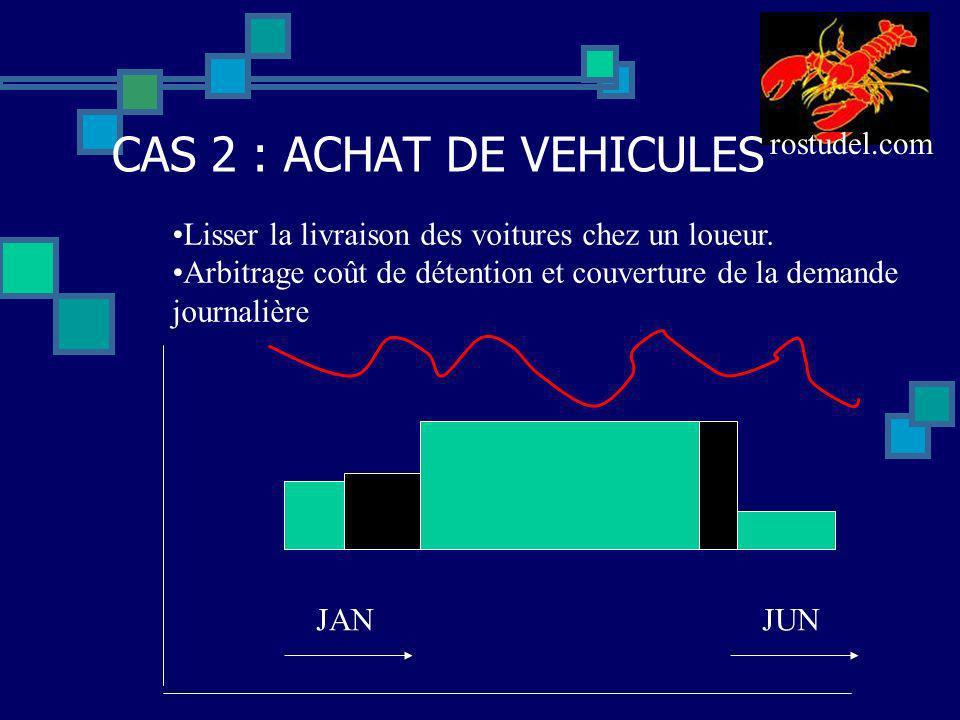 rostudel.com CAS 2 : ACHAT DE VEHICULES JANJUN Lisser la livraison des voitures chez un loueur. Arbitrage coût de détention et couverture de la demand