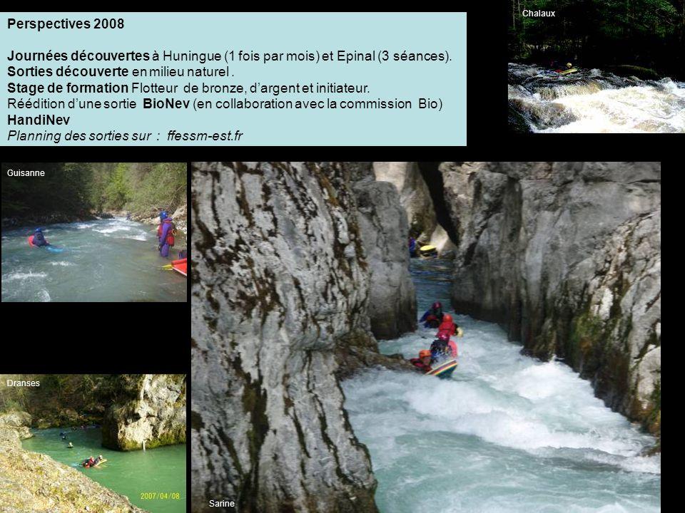 Perspectives 2008 Journées découvertes à Huningue (1 fois par mois) et Epinal (3 séances).
