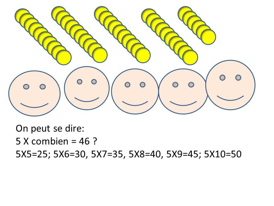 On peut se dire: 5 X combien = 46 ? 5X5=25; 5X6=30, 5X7=35, 5X8=40, 5X9=45; 5X10=50
