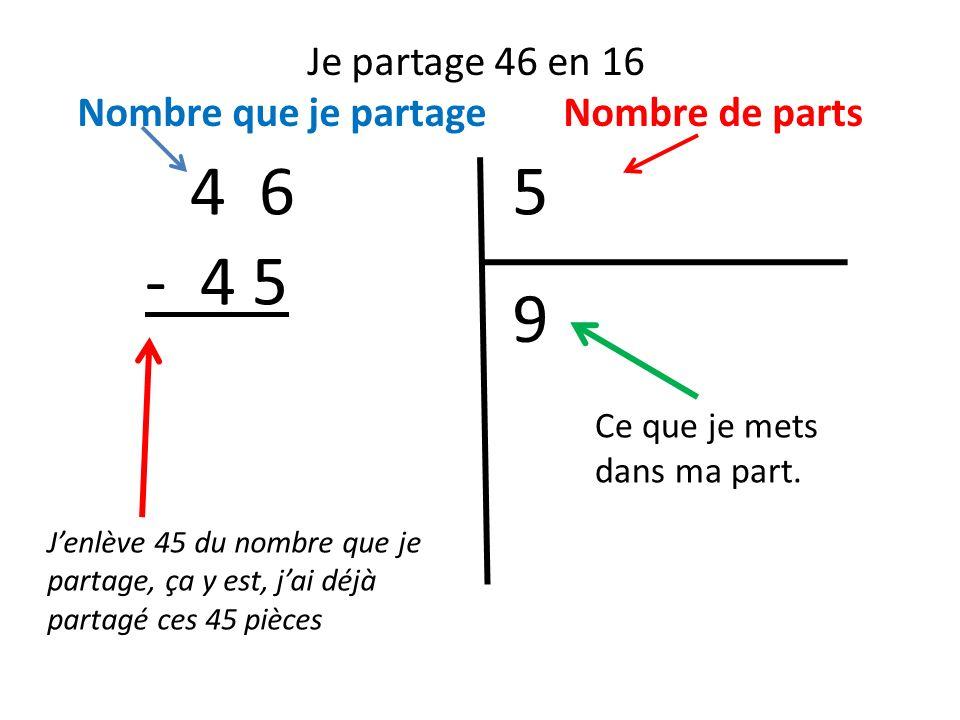 Je partage 46 en 16 Nombre que je partage Nombre de parts 54 6 Jenlève 45 du nombre que je partage, ça y est, jai déjà partagé ces 45 pièces 9 - 4 5 Ce que je mets dans ma part.