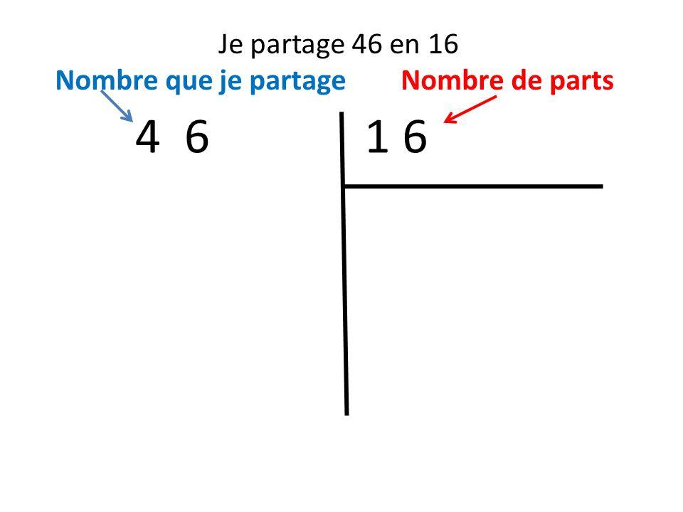 Je partage 46 en 16 Nombre que je partage Nombre de parts 1 64 6