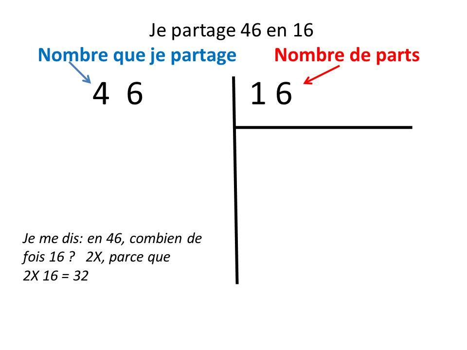 Je partage 46 en 16 Nombre que je partage Nombre de parts 1 64 6 Je me dis: en 46, combien de fois 16 ? 2X, parce que 2X 16 = 32