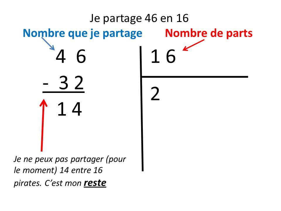 Je partage 46 en 16 Nombre que je partage Nombre de parts 1 64 6 Je ne peux pas partager (pour le moment) 14 entre 16 pirates. Cest mon reste 2 - 3 2