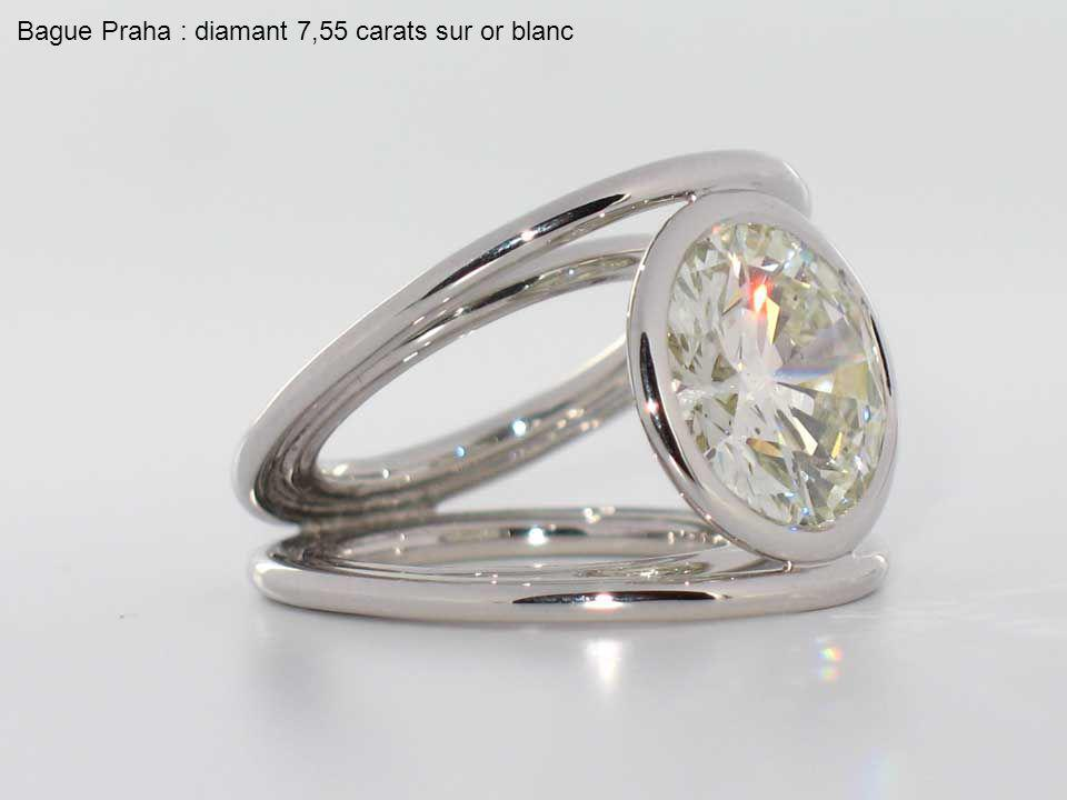 Bague Praha : diamant 7,55 carats sur or blanc