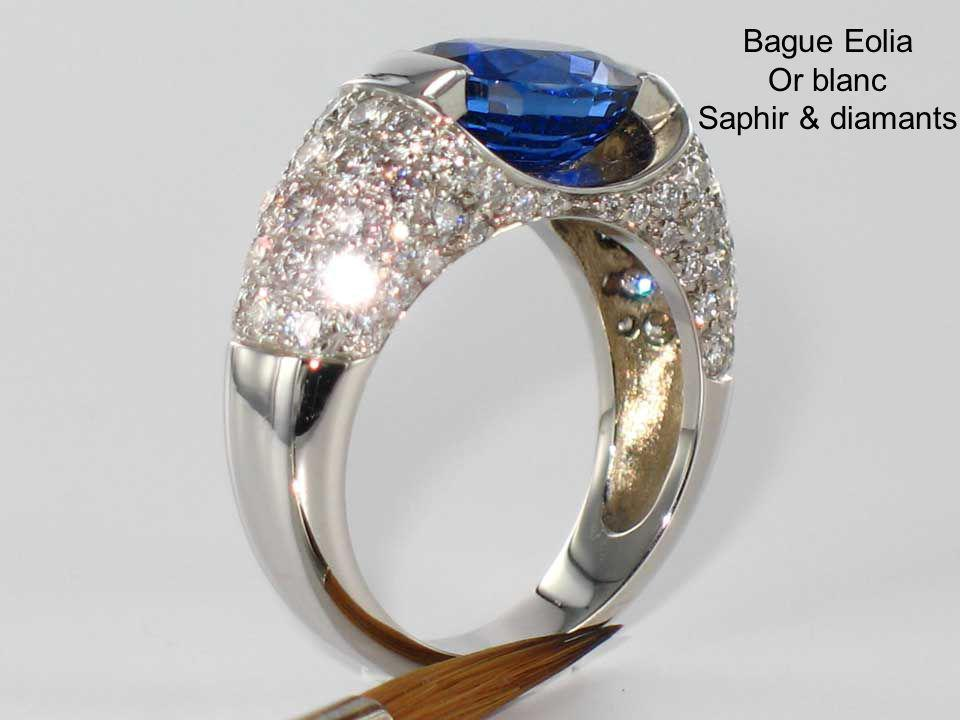Bague Eolia Or blanc Saphir & diamants