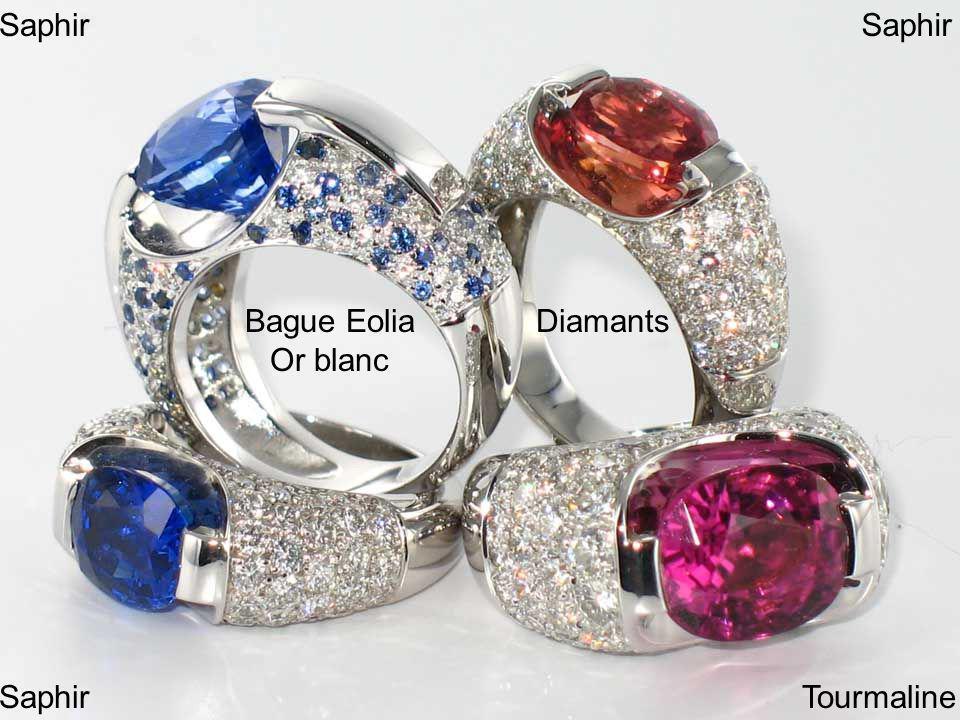 Bague Eolia Or blanc Diamants Saphir Tourmaline Saphir