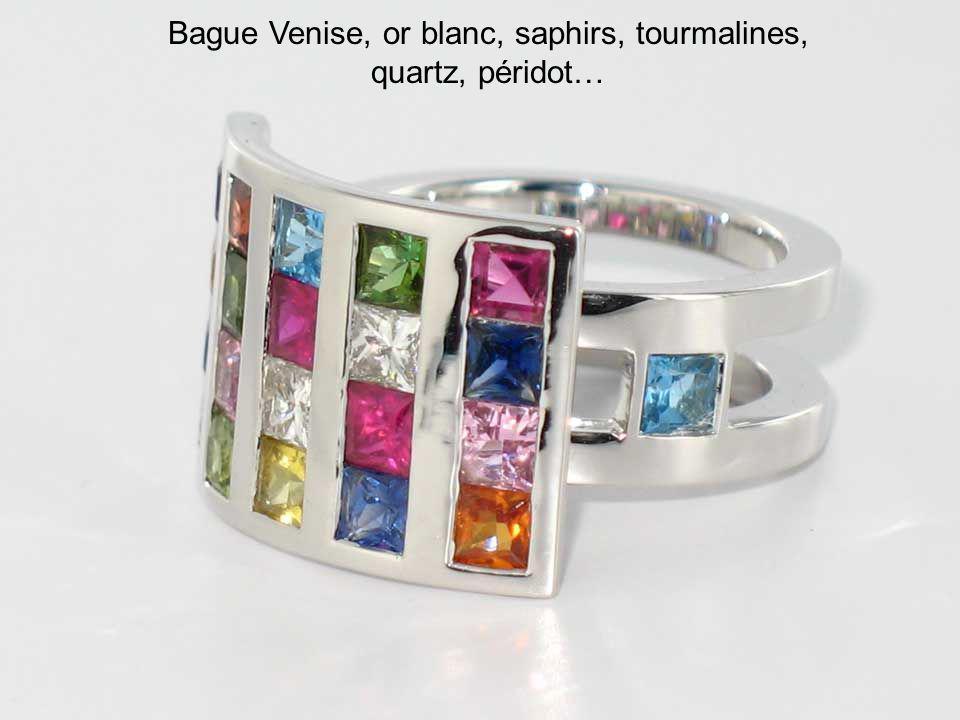 Bague Venise, or blanc, saphirs, tourmalines, quartz, péridot…
