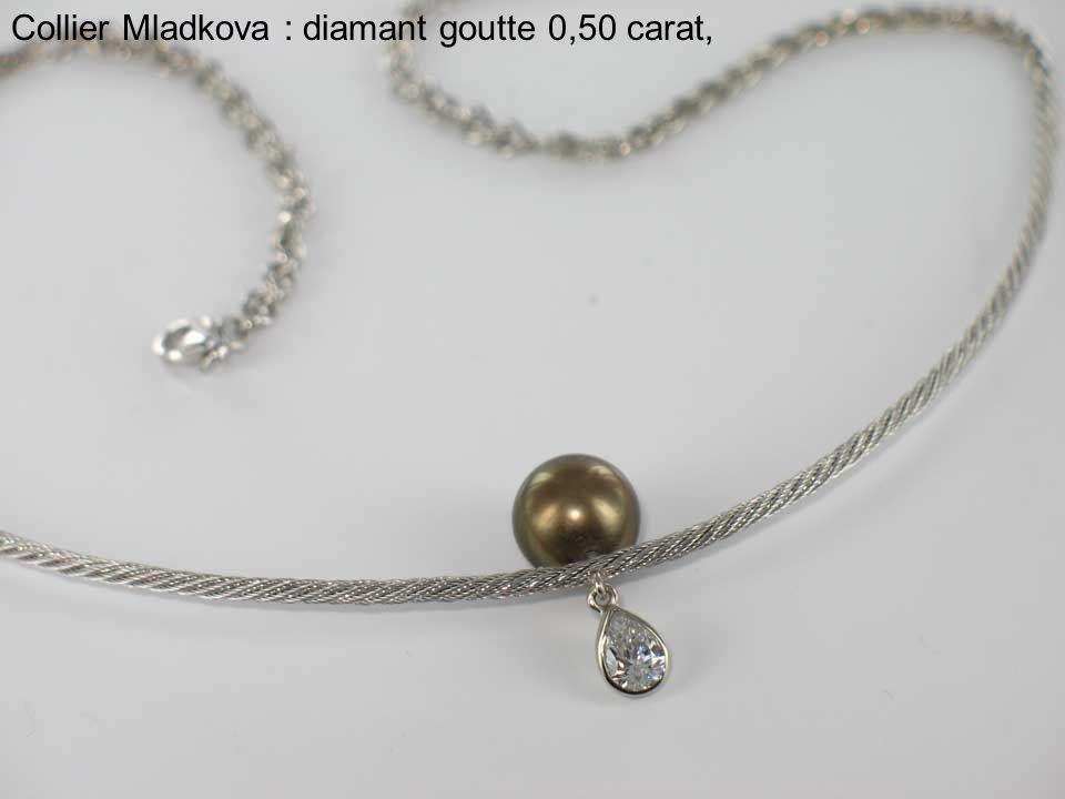 Collier Mladkova : diamant goutte 0,50 carat,
