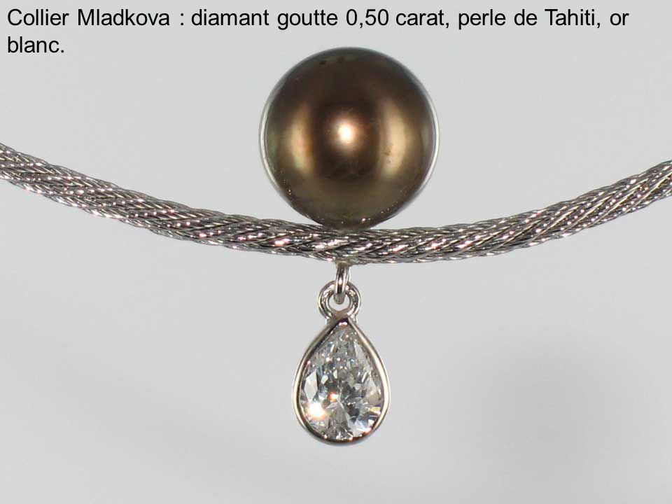 Collier Mladkova : diamant goutte 0,50 carat, perle de Tahiti, or blanc.