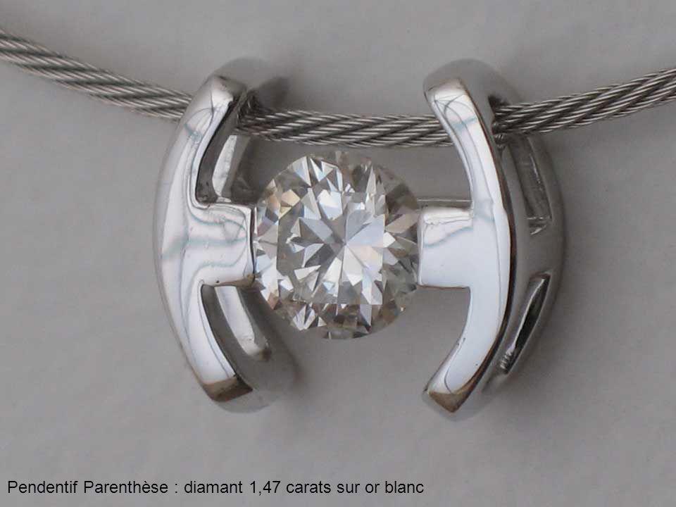 Pendentif Parenthèse : diamant 1,47 carats sur or blanc