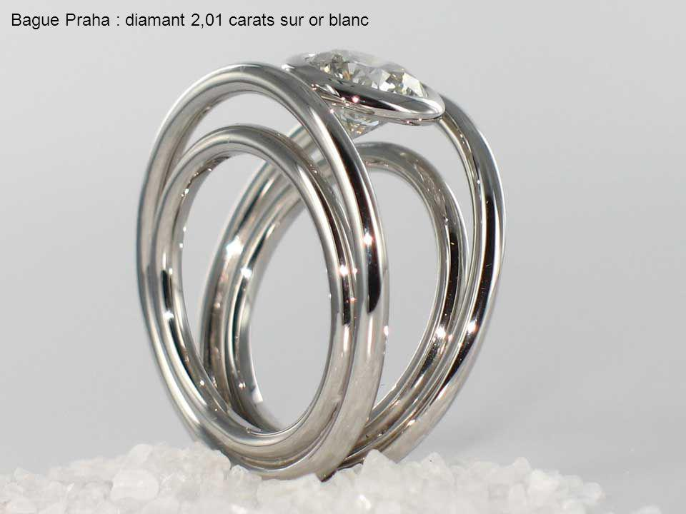 Bague Praha : diamant 2,01 carats sur or blanc