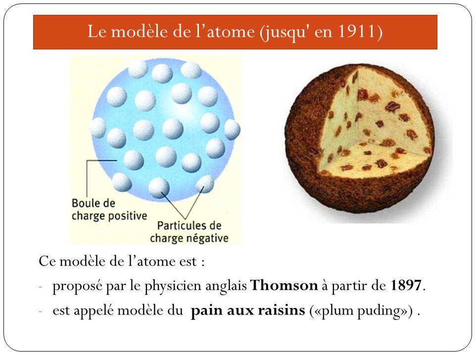 Le modèle de latome (jusqu en 1911) Ce modèle de latome est : - proposé par le physicien anglais Thomson à partir de 1897.