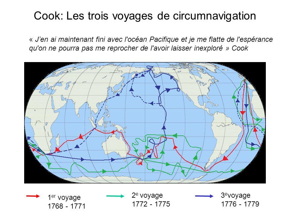 Cook: Les trois voyages de circumnavigation 1 er voyage 1768 - 1771 2 e voyage 1772 - 1775 3 e voyage 1776 - 1779 « « Jen ai maintenant fini avec l océan Pacifique et je me flatte de l espérance qu on ne pourra pas me reprocher de l avoir laisser inexploré » Cook